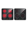 realistic black induction cooktop top view vector image vector image