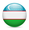 Round glossy icon of uzbekistan vector image vector image