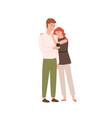 sad couple use smartphone together flat vector image vector image