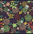 seamless background with cute skulls and floral vector image