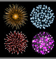 set colorful fireworks vector image