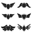 set emblems with wings design element for logo vector image vector image