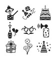 set of monochrome celebration icons in flat style vector image