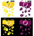 set template lemon and plum fruit vector image vector image