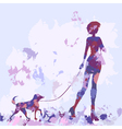 silhouette watercolor lilac dog vector image vector image