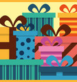 stack wrapped gift boxes bow decoration striped vector image vector image