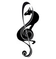 treble clef panther music tattoo stylized vector image vector image