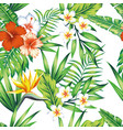 tropical plants seamless pattern white background vector image vector image