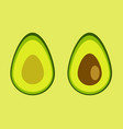two slices avocado vector image vector image
