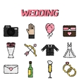 Wedding flat icon set vector image