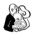 wedding love cake vector image vector image