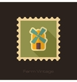 Windmill retro flat stamp with long shadow vector image vector image