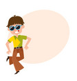 young man in retro sunglasses and bell-bottomed vector image