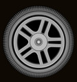 drawn automotive grey wheel with alloy wheel vector image