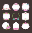 cute floral flowers badges vintade vector image