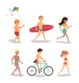 People on the beach in flat style design vector image