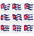 Set of Cuba flags in the air vector image