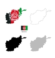Afghanistan country black silhouette and with flag vector image vector image