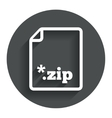 Archive file icon Download ZIP button vector image vector image