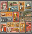 beer glass mug bottle barrel with hop posters vector image vector image