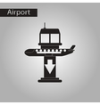 black and white style icon airplane lands airport vector image vector image