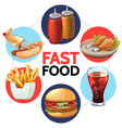 cartoon fast food round concept vector image vector image