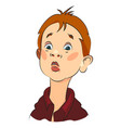 cartoon image of amazed boy vector image vector image