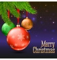 Christmas balls green fir branches and bright vector image vector image