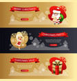 christmas horizontal banners set gold and dark vector image