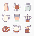 collection coffee icons vector image vector image