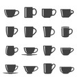 cups black and white glyph icons set vector image