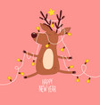 cute deer in christmas tree garland vector image vector image
