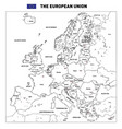 detailed political map of the european union vector image vector image