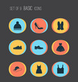 dress icons set collection of sneakers beanie vector image vector image