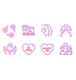 friends chat hold heart and marry me icons set vector image vector image