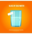 glass with cold water and bubbles on bright vector image