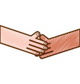 grated humans shaking hands with fingers and nails vector image vector image
