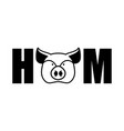 ham lettering emblem head pig and letters isolated vector image vector image