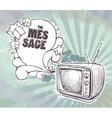hand drawn retro TV set vector image vector image