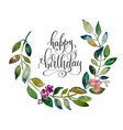 happy birthday greeting cart with handmade circle vector image vector image