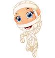 happy kid wearing mummy costume waving hand vector image