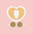 love croissant and coffee breakfast vector image vector image