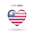 love liberia symbol flag heart glossy icon on a vector image vector image
