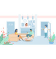man and woman patients sitting in clinic lobby vector image vector image
