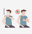 man in protective mask getting vaccinated showing vector image