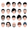 man male face head hair hairstyle a set of man vector image vector image