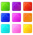 monitor with cardiogram icons set 9 color vector image vector image