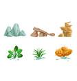 nature landscape elements set stones autumn tree vector image vector image