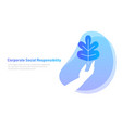 nature leaf on hand symbol concept corporate vector image vector image