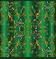 paisley seamless pattern green 3d background vector image